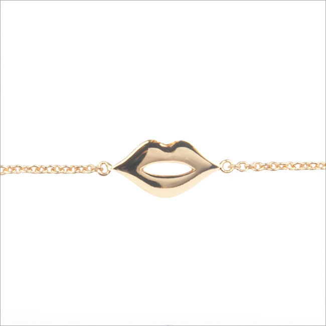 Goldfarbene ALLTHELUCKINTHEWORLD Armband SOUVENIR BRACELET LIPS - large