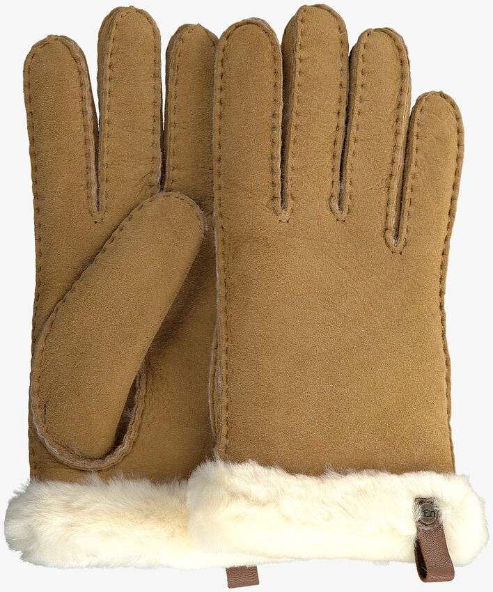 Camelfarbene UGG Handschuhe SHORTY GLOVE W/TRIM  - larger
