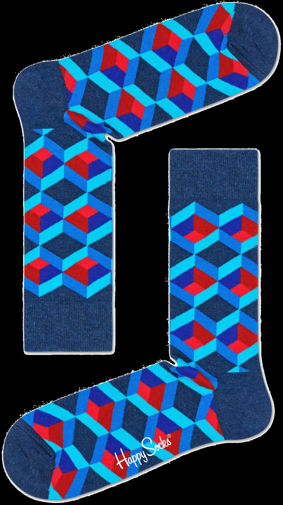 Blaue HAPPY SOCKS Socken OPTIC SQUERE woP2b