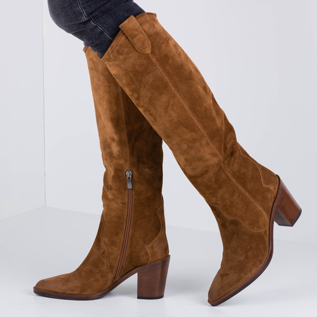 Cognacfarbene NOTRE-V Hohe Stiefel BY6606X  - large