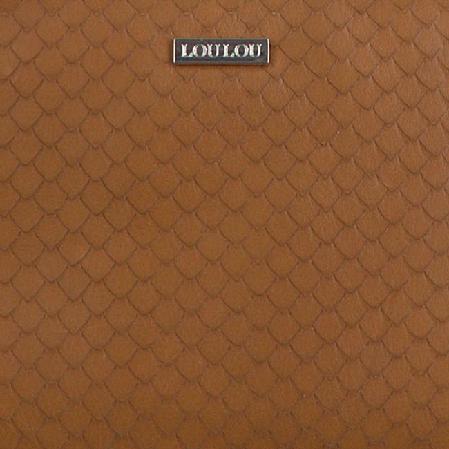 Cognacfarbene LOULOU ESSENTIELS Umhängetasche 21POUCH SCALES  - large